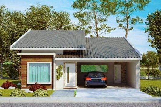 telhados modernos casa térrea cinza