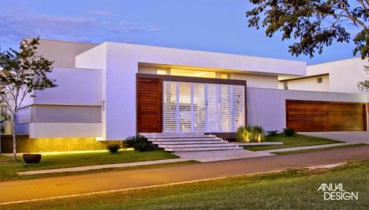 telhados modernos embutidos casa térrea fachada