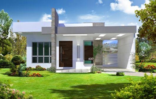 telhados modernos embutidos casa térrea moderna