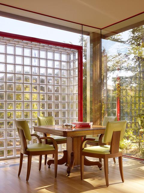 parede de vidro sala de jantar