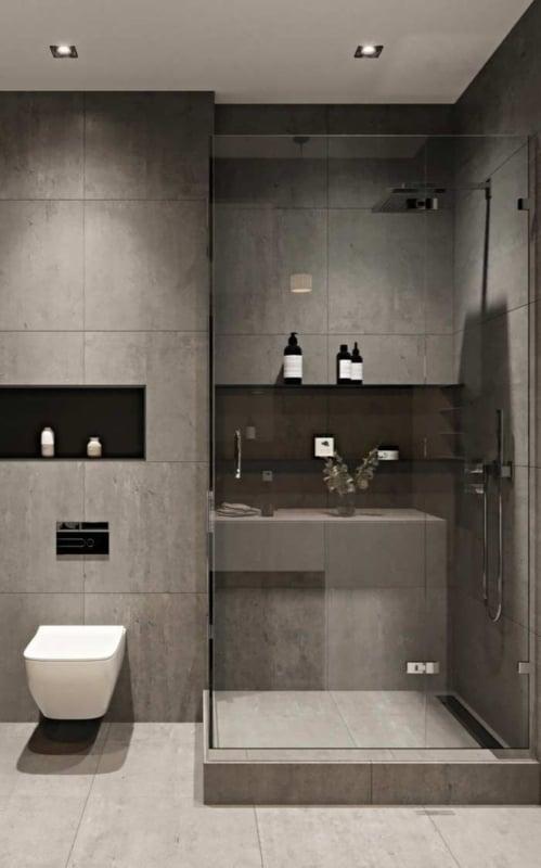 Banheiro moderno minimalista na cor fendi