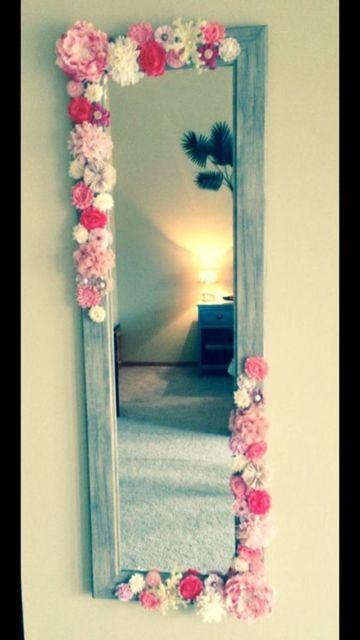 Decoração faça você mesmo flores espelho
