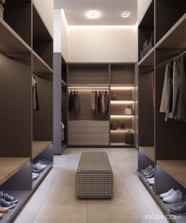 Projeto de closet clean na cor fendi