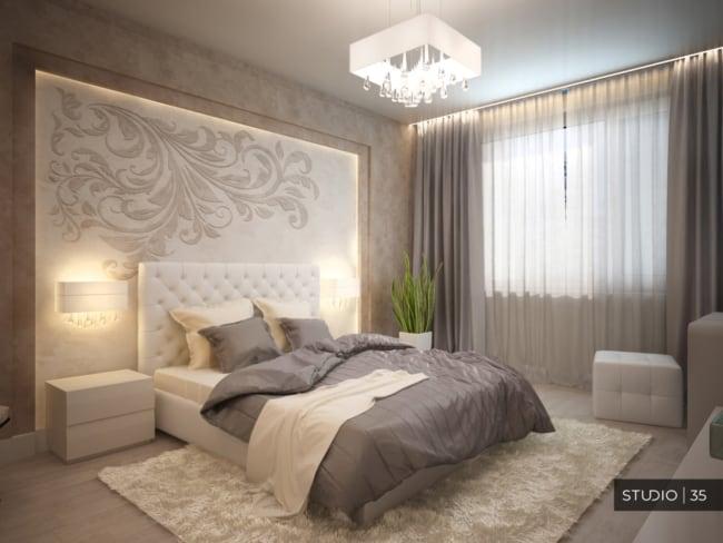 Projeto de quarto com decoração chic em tons de cinza e marrom