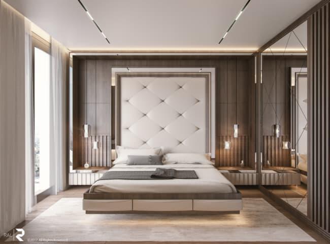 Projeto de quarto de casal moderno com madeira e tons de cinza
