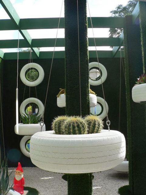 decoração externa com pneus