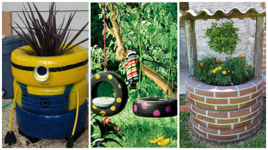 Artesanato Jardim Da Estrela ~ Artesanato com pneu 62 ideias incríveis!