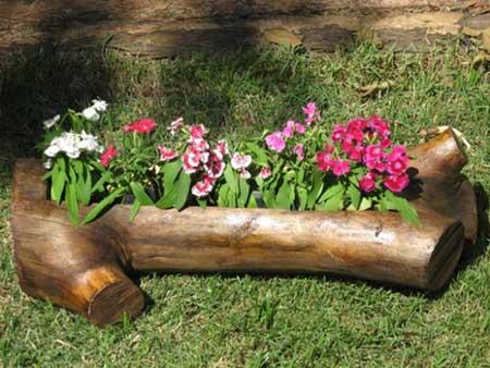 decoração jardim com madeira
