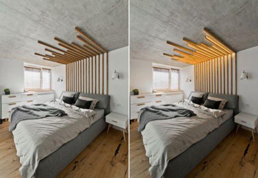 cabeceira de madeira em L ate o teto