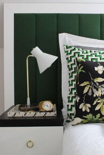 cabeceira estofada tecido verde