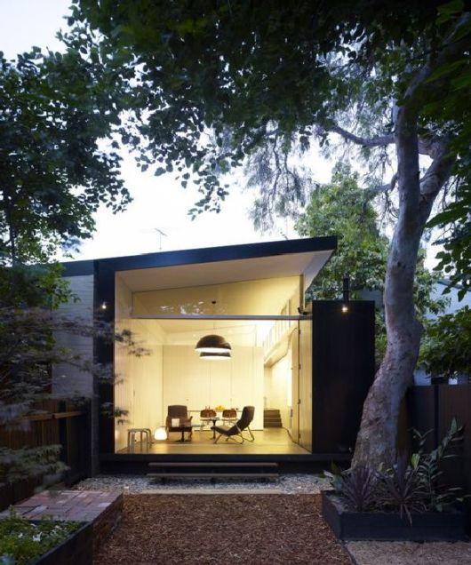 Casas minimalistas 40 inspira es de fachadas e interiores - Small narrow house plans minimalist ...