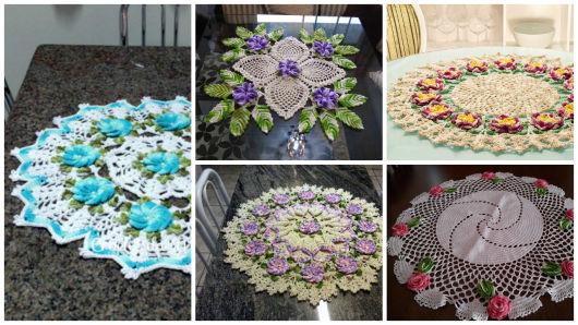 Modelos com flores de crochê
