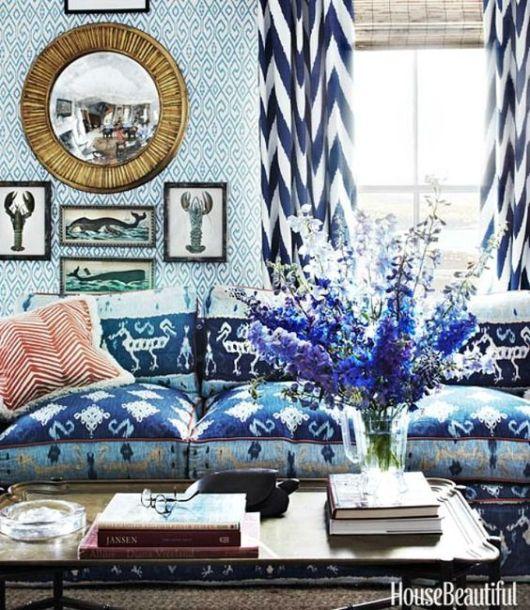 cortinas para sala chevron azul