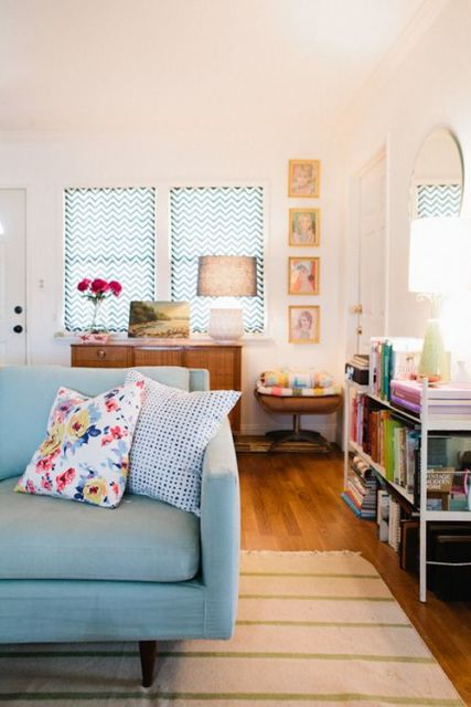 cortinas para sala chevron janela
