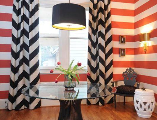 cortinas para sala chevron verde