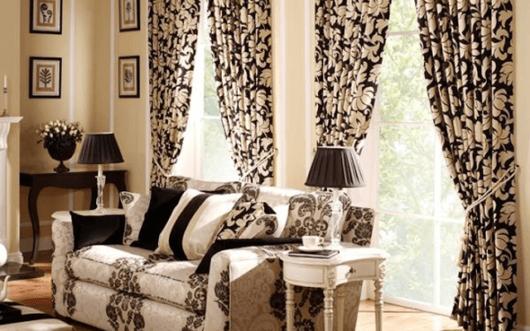 cortinas para sala floral p&b