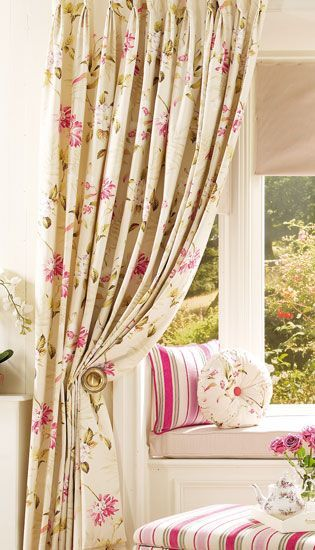 cortinas para sala flores coloridas
