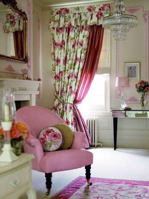 cortinas para sala flores