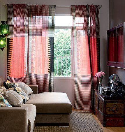 cortinas para sala listras coloridas