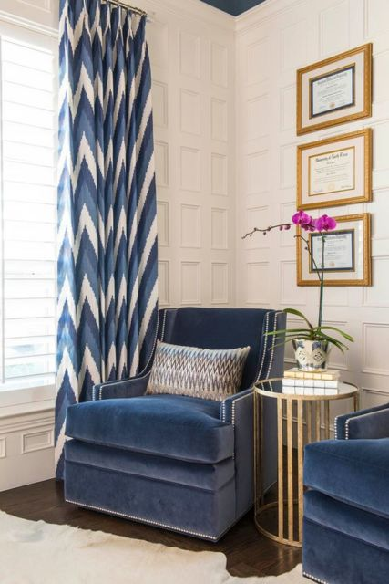 cortinas para sala pequena estampada azul