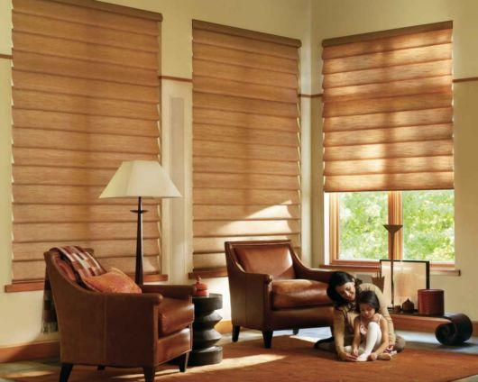 cortinas para sala persianas marrom