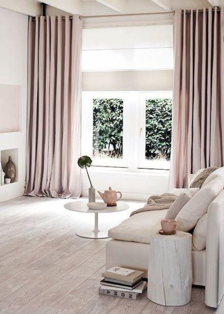 cortinas para sala rosa