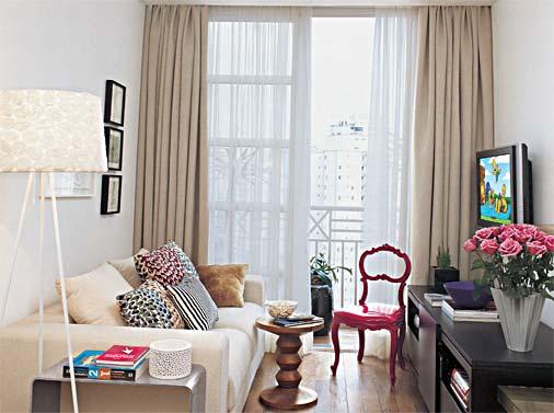 cortinas para sala - sala pequena