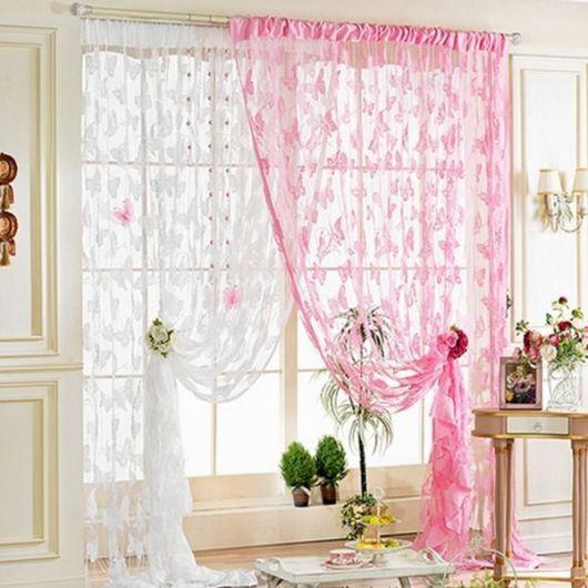 cortinas para sala tassel flores