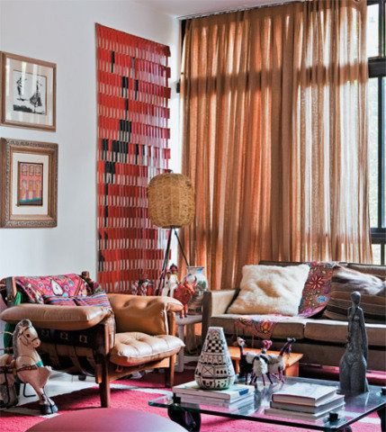 cortinas para sala tecidos laranja
