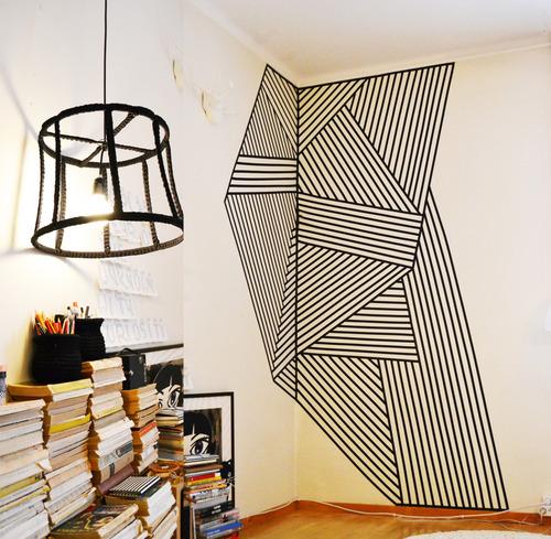 decoração com fita isolante desenho grande