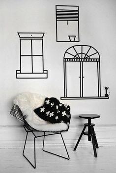 decoração com fita isolante janelas