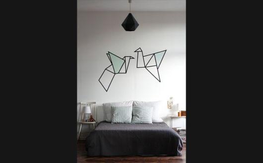 decoração com fita isolante origami
