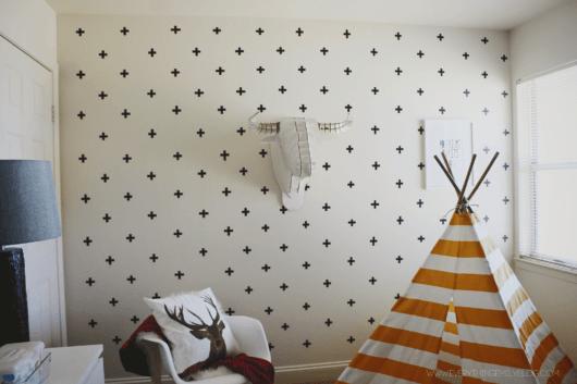 decoração com fita isolante parede