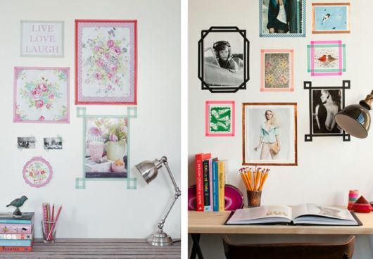 decoração com fita isolante quadros