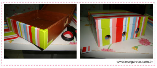 decoração com papel contact caixas