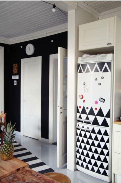 decoração com papel contact geladeira