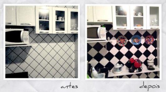 decoração com papel contact na cozinha