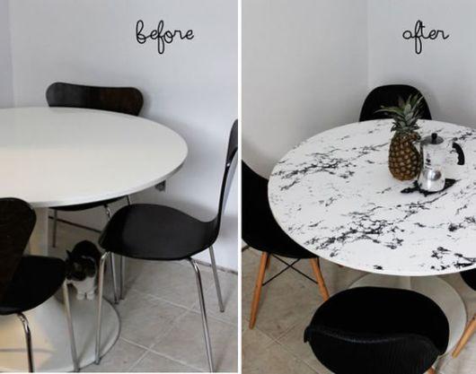 decoração com papel contact para mesa