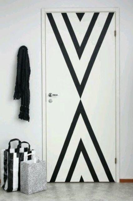 decoração com papel contact porta