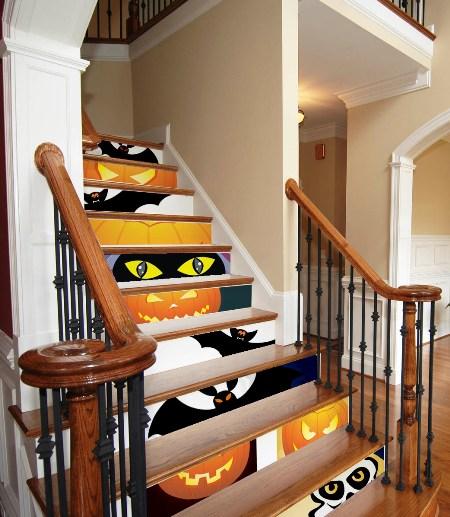 decoração de escada com adesivo
