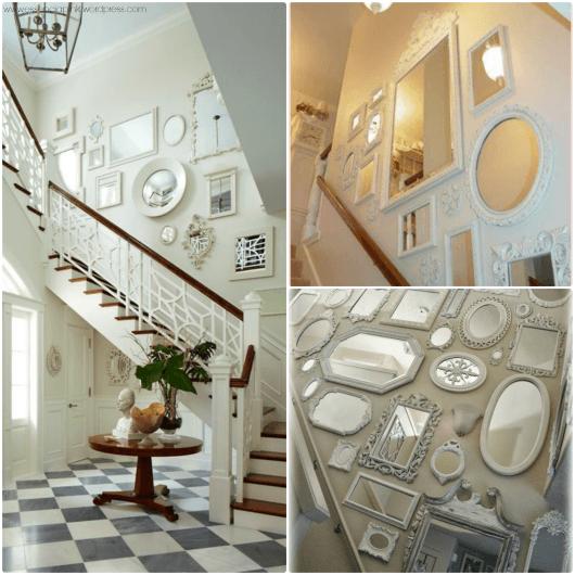 decoração de escada com espelho