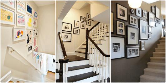decoração de escada com fotografias e desenhos