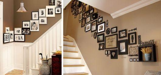 decoração de escada com fotos