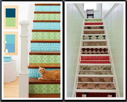 decoração de escada com papel de parede colorido