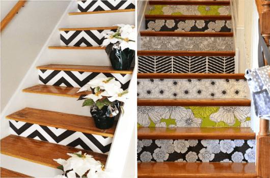decoração de escada com papel de parede