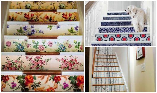 decoração de escada com papel divertido