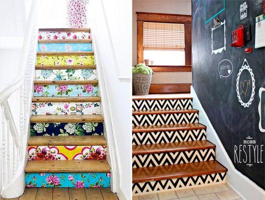 decoração de escada com papel
