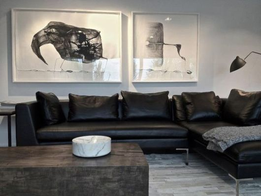 decoração sofá preto