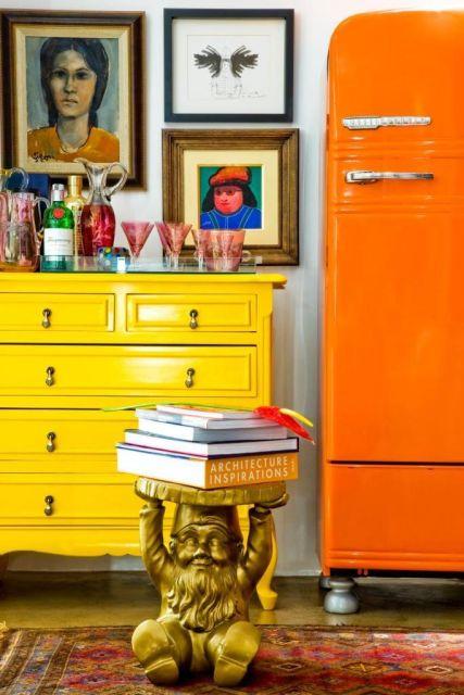 decoracao-geladeira-colorida alaranjada