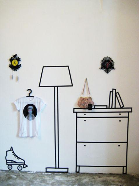 decorar com fita isolante